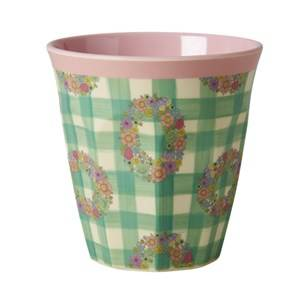Rice Unisex Tableware Pink Melamine Medium Cup with Vichy Print