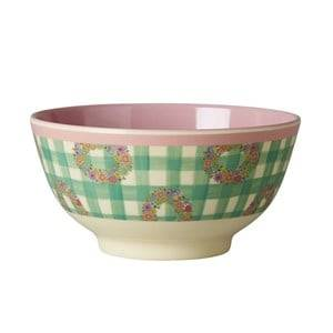 Rice Unisex Tableware Pink Small Melamine Bowl with Vichy Print