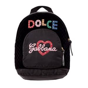 Dolce & Gabbana Girls Bags Black Black Leather and Nylon Embellished Branded Backpack
