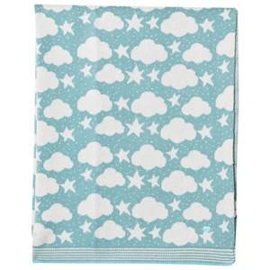 The Bonnie Mob Boys Textile Blue Stars and Clouds Jacquard Baby Blanket Pale Teal