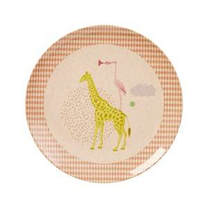 Rice Girls Norway Assort Tableware Pink Kids Bamboo Melamine Lunch Plate Animal Print