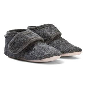 Celavi Unisex Slippers Grey Wool Baby Shoes Deep Stone Grey