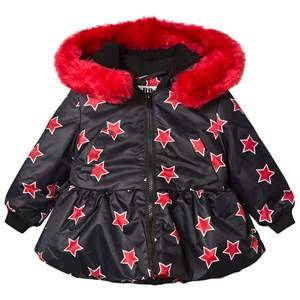 The BRAND Girls Private Label Collars Red Peplum Allstar Jacket with Red Fur Trim