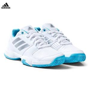 adidas Performance Boys Sport footwear White White Blue Barricade Tennis Trainers