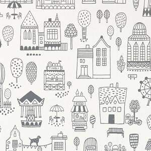 Majvillan Unisex Home accessories Black Small Town Wallpaper Black