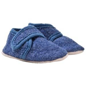 Celavi Boys Childrens Shoes Slippers Blue Wool Baby Shoes Blue Melange