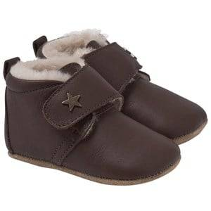 Bisgaard Unisex Childrens Shoes Slippers Brown Star Home Shoe With Wool Brown