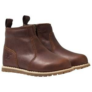 Timberland Unisex Childrens Shoes Boots Brown Pokey Pine Chukka Boots with Dark Rubber