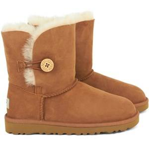 UGG Unisex Childrens Shoes Boots K Bailey Button Chestnut White