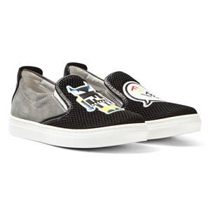 Fendi Unisex Sneakers Black Black Mesh Monster Slip Ons
