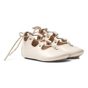 Chloé Girls Shoes Pink Pale Pink Leather Lace Up Crib Shoes