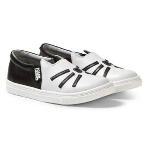 Karl Lagerfeld Kids Girls Sneakers White White Choupette Leather Slip On (MINI ME)
