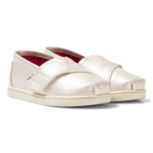 Toms Girls Shoes Gold White Gold Metallic Synthetic Leather Tiny TOMS Classics