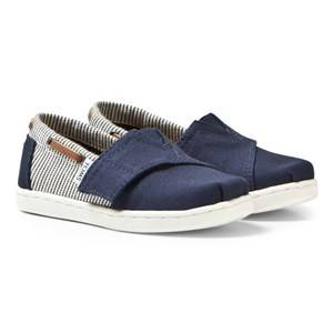 Toms Boys Shoes Navy Navy Canvas & Stripe Tiny TOMS Biminis