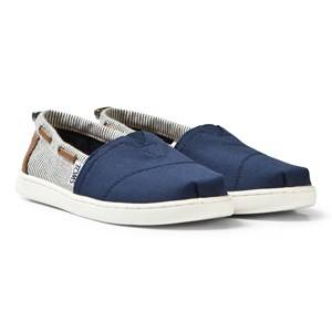 Toms Boys Shoes Navy Navy Canvas & Stripe Youth Biminis