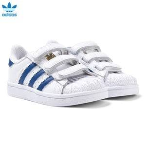 adidas Originals Boys Sneakers White White and Blue Superstar Trainers
