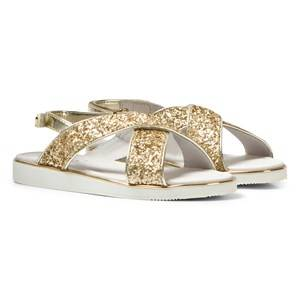 Mayoral Girls Sandals Gold Gold Glitter Cross-Over Velcro Sandals