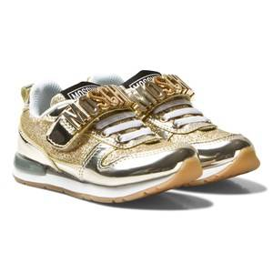 Moschino Kid-Teen Girls Sneakers Gold Flash Gold and Glitter Trainers