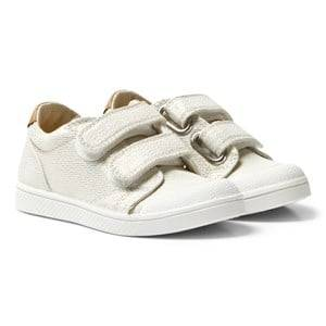 10-IS Girls Sneakers White White Gold Shine TEN V 2 Velcro Shoes