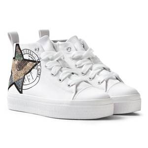 Diesel Girls Sneakers White White Wedged Star Hi Top Trainers