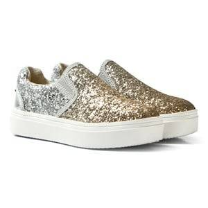 Stuart Weitzman Girls Sneakers Silver Double Marcia Glitter Slip On Trainers