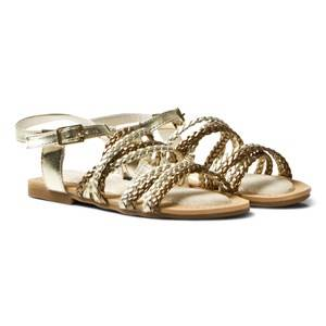 Stuart Weitzman Girls Sandals Gold Camia Woven Gold And Silver Sandals