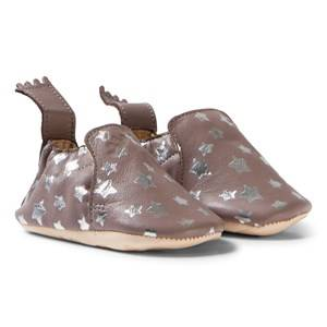 Easy Peasy Unisex Shoes Grey Grey and Silver Star Print Blumoo Nuit Crib Shoes