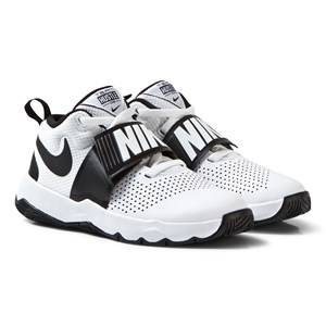 NIKE Boys Sneakers White White and Black Team Hustle Junior Trainers