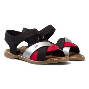 Tommy Hilfiger Girls Sandals Multi Red White and Black Leather Sandal