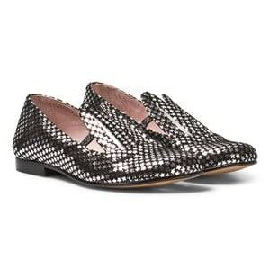 Minna Parikka Girls Shoes Black Black and Silver Star Leather Bunny Ears Loafers