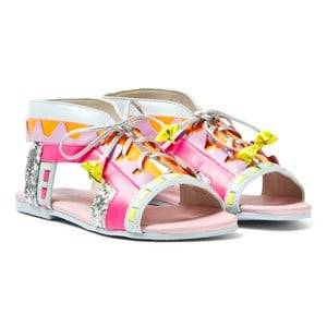 Sophia Webster Mini Girls Sandals Pink Fluro Pink Silver Glitter Riko Sandals