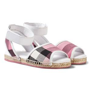 Burberry Girls Sandals Pink Leather Ankle Strap and House Check Espadrille Sandals Rose Pink
