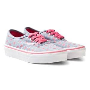 Vans Girls Sneakers Blue Chambray Hearts Authentic Trainers