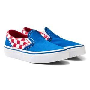 Vans Boys Sneakers Blue Blue and Red Checkerboard Classic Slip On