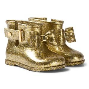 Mini Melissa Girls Boots Gold Sugar Rain Bow Rain Boots Gold Glitter Bow