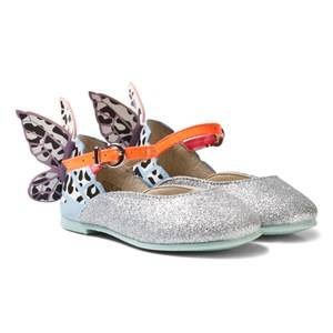 Sophia Webster Mini Girls Shoes Multi Leopard Chiara Embroidered Butterfly Shoes Silver