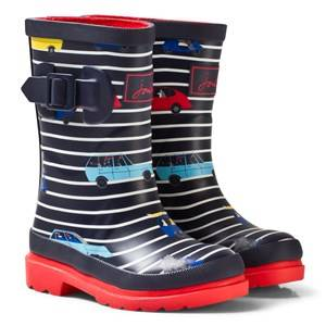 Joules Boys Boots Navy Navy Stripe Cars Print Rain Boots