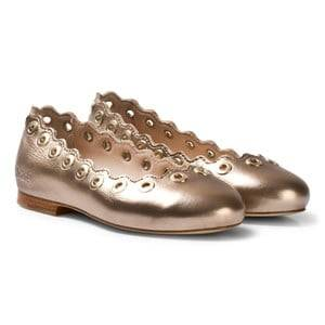 Chloé Girls Shoes Gold Gold Leather Pumps