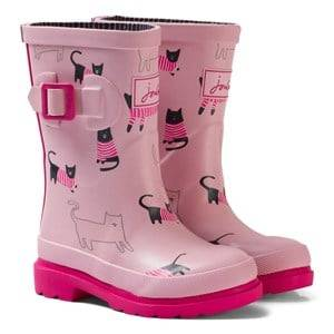 Joules Girls Boots Pink Pink Cat Print Rubber Boots