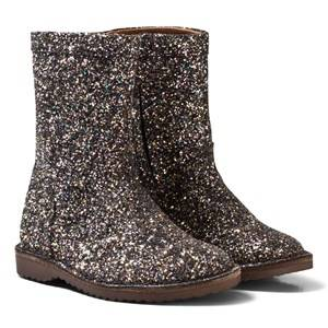 Bisgaard Unisex Boots Black Black Glitter Leather Lined Boots