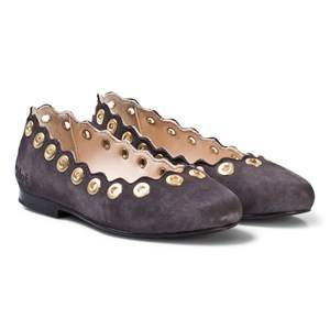 Chloé Girls Boots Grey Grey Leather Scallop and Eyelet Detail Pumps