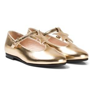 Il Gufo Girls Shoes Gold Gold Star Detail T-Bar Mary Janes
