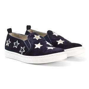 Il Gufo Girls Shoes Navy Navy Suede and Leather Star Slip Ons
