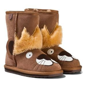 Emu Australia Boys Boots Brown Brown Suede Leo Lion Boots with Merino Lining