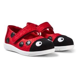 Emu Australia Girls Sneakers Red Red Glitter Textile Ladybug Velcro Shoes