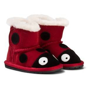 Emu Australia Unisex Boots Red Red Suede Ladybird First Walker with Merino Lining