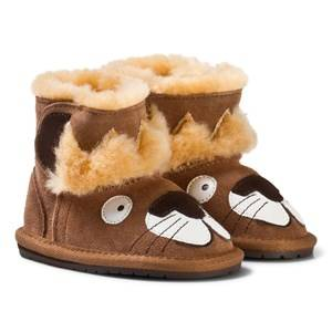 Emu Australia Boys Boots Brown Brown Suede Leather Leo Lion First Walker with Merino Lining