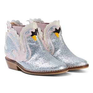 Stella McCartney Kids Girls Boots Silver Pale Pink Swan Lily Boots