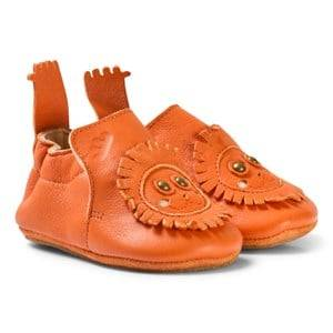 Easy Peasy Boys Shoes Orange Orange Leather Lion BluBlu Shoes with Anti Slip Shoes