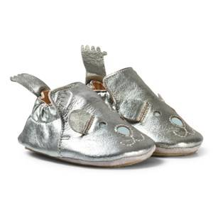 Easy Peasy Boys Shoes Silver Pewter Leather Teddy BluBlu Shoes with Anti Slip Sole